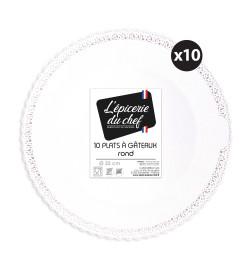 "10 Plats dentelle blanc "" rond diam 32 cm"